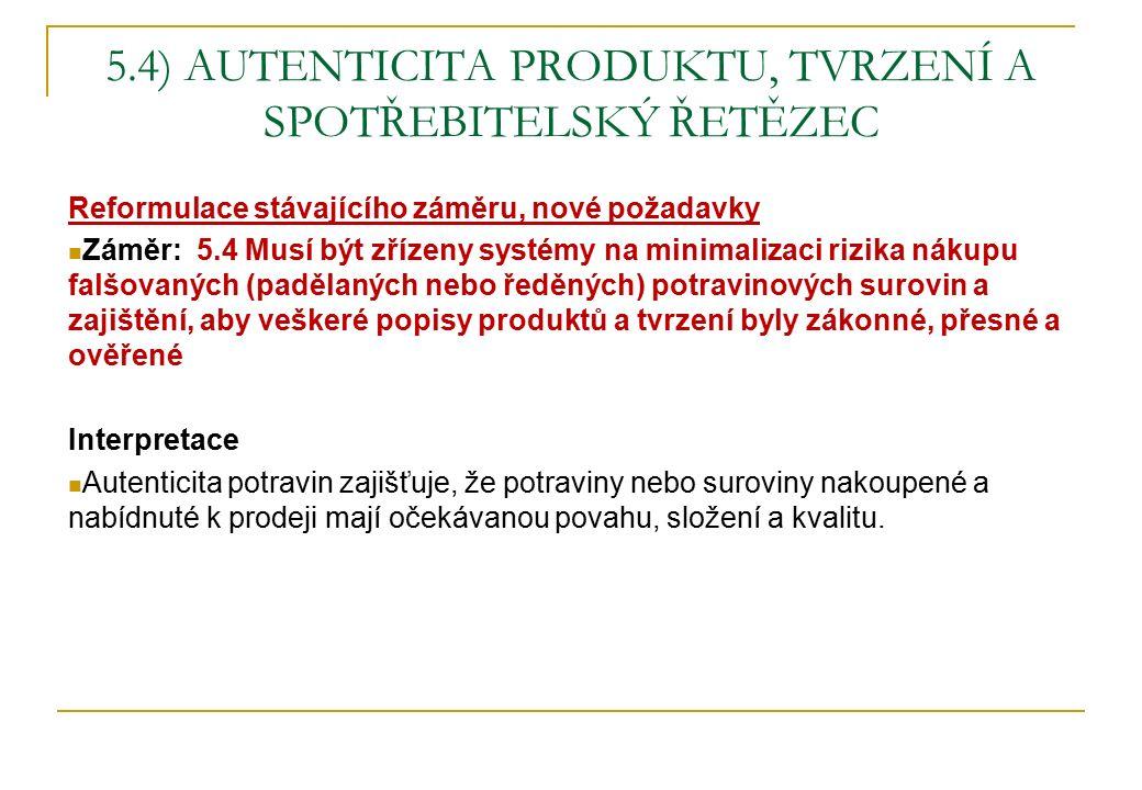 5.4) AUTENTICITA PRODUKTU, TVRZENÍ A SPOTŘEBITELSKÝ ŘETĚZEC Reformulace stávajícího záměru, nové požadavky Záměr: 5.4 Musí být zřízeny systémy na mini