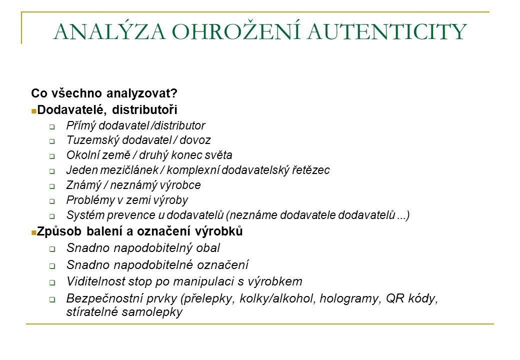 ANALÝZA OHROŽENÍ AUTENTICITY Co všechno analyzovat? Dodavatelé, distributoři  Přímý dodavatel /distributor  Tuzemský dodavatel / dovoz  Okolní země