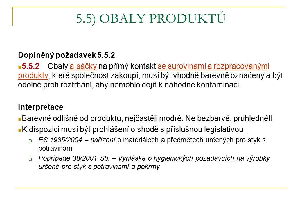 5.5) OBALY PRODUKTŮ Doplněný požadavek 5.5.2 5.5.2 Obaly a sáčky na přímý kontakt se surovinami a rozpracovanými produkty, které společnost zakoupí, m
