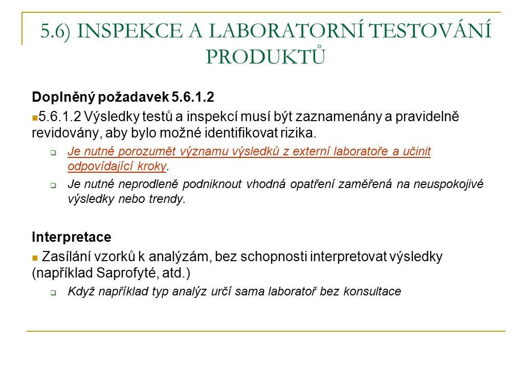 5.6) INSPEKCE A LABORATORNÍ TESTOVÁNÍ PRODUKTŮ Doplněný požadavek 5.6.1.2 5.6.1.2 Výsledky testů a inspekcí musí být zaznamenány a pravidelně revidovány, aby bylo možné identifikovat rizika.