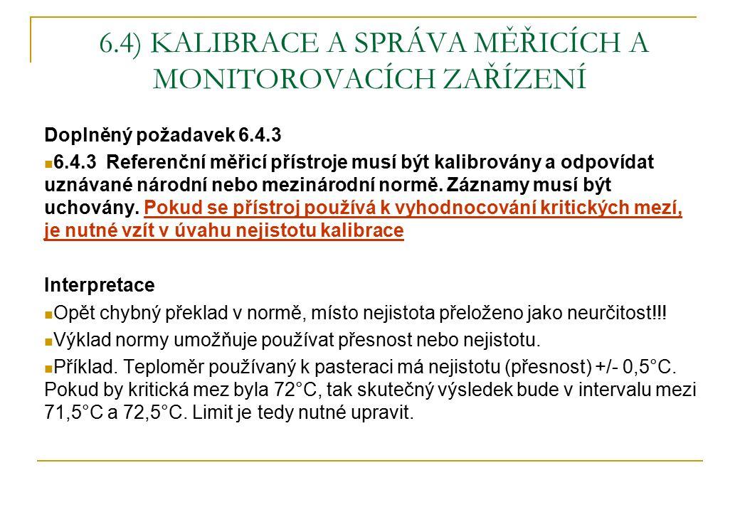 6.4) KALIBRACE A SPRÁVA MĚŘICÍCH A MONITOROVACÍCH ZAŘÍZENÍ Doplněný požadavek 6.4.3 6.4.3 Referenční měřicí přístroje musí být kalibrovány a odpovídat