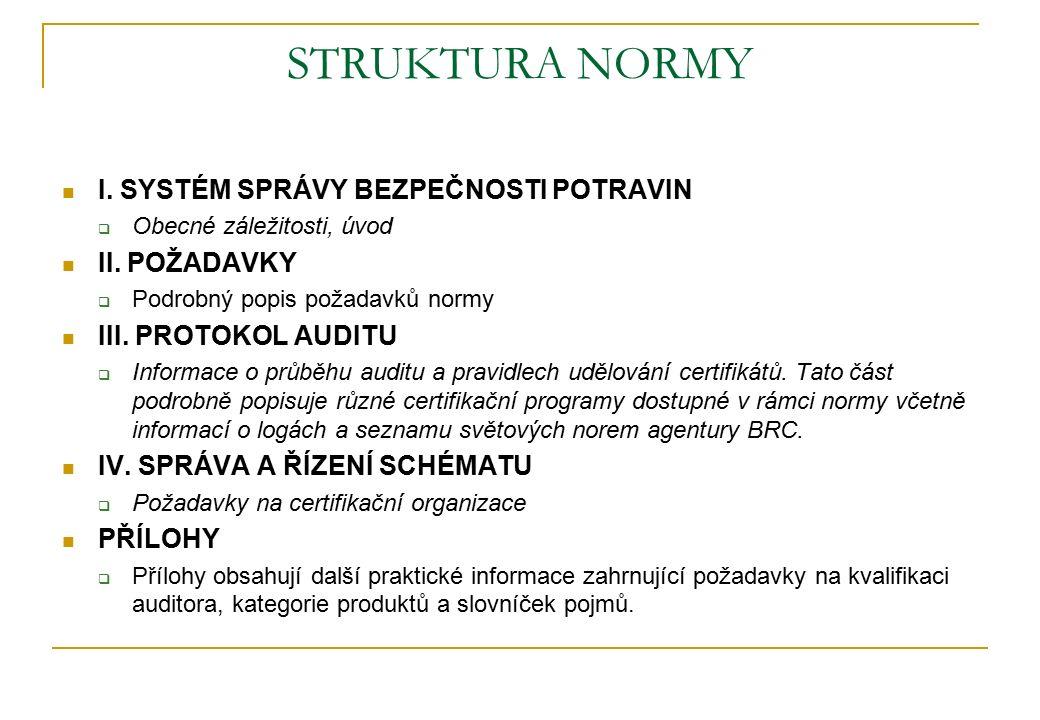 STRUKTURA NORMY I.SYSTÉM SPRÁVY BEZPEČNOSTI POTRAVIN  Obecné záležitosti, úvod II.