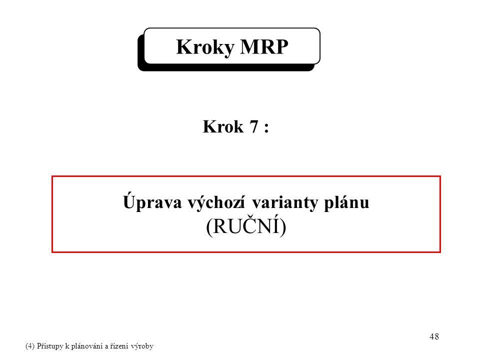 48 Krok 7 : Úprava výchozí varianty plánu (RUČNÍ) Kroky MRP (4) Přístupy k plánování a řízení výroby