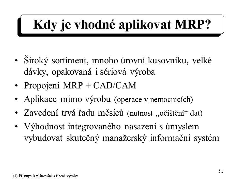 """51 Široký sortiment, mnoho úrovní kusovníku, velké dávky, opakovaná i sériová výroba Propojení MRP + CAD/CAM Aplikace mimo výrobu (operace v nemocnicích) Zavedení trvá řadu měsíců (nutnost """"očištění dat) Výhodnost integrovaného nasazení s úmyslem vybudovat skutečný manažerský informační systém (4) Přístupy k plánování a řízení výroby"""