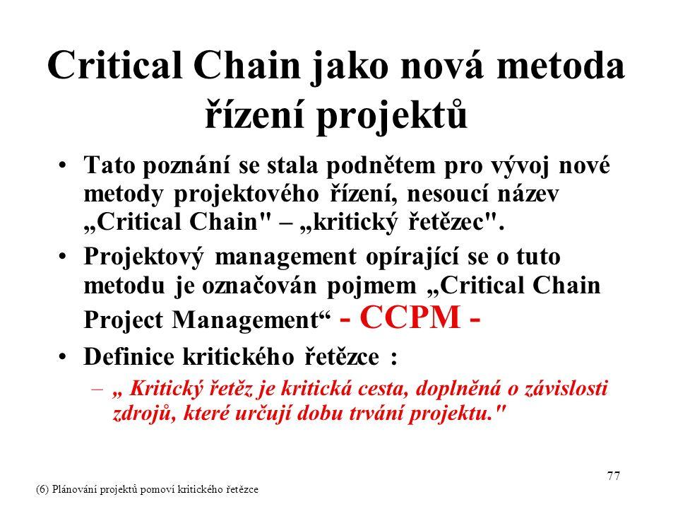 """77 Critical Chain jako nová metoda řízení projektů Tato poznání se stala podnětem pro vývoj nové metody projektového řízení, nesoucí název """"Critical Chain – """"kritický řetězec ."""