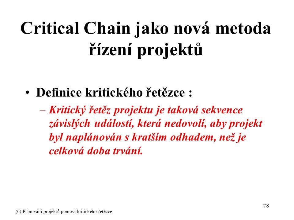 78 Definice kritického řetězce : –Kritický řetěz projektu je taková sekvence závislých událostí, která nedovolí, aby projekt byl naplánován s kratším odhadem, než je celková doba trvání.