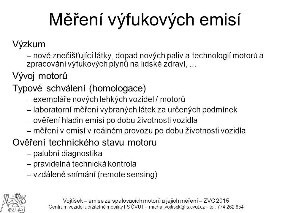 Vojtíšek – emise ze spalovacích motorů a jejich měření – ZVC 2015 Centrum vozidel udržitelné mobility FS ČVUT – michal.vojtisek@fs.cvut.cz – tel.
