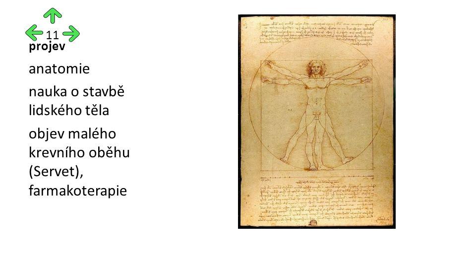 projev anatomie nauka o stavbě lidského těla objev malého krevního oběhu (Servet), farmakoterapie 11