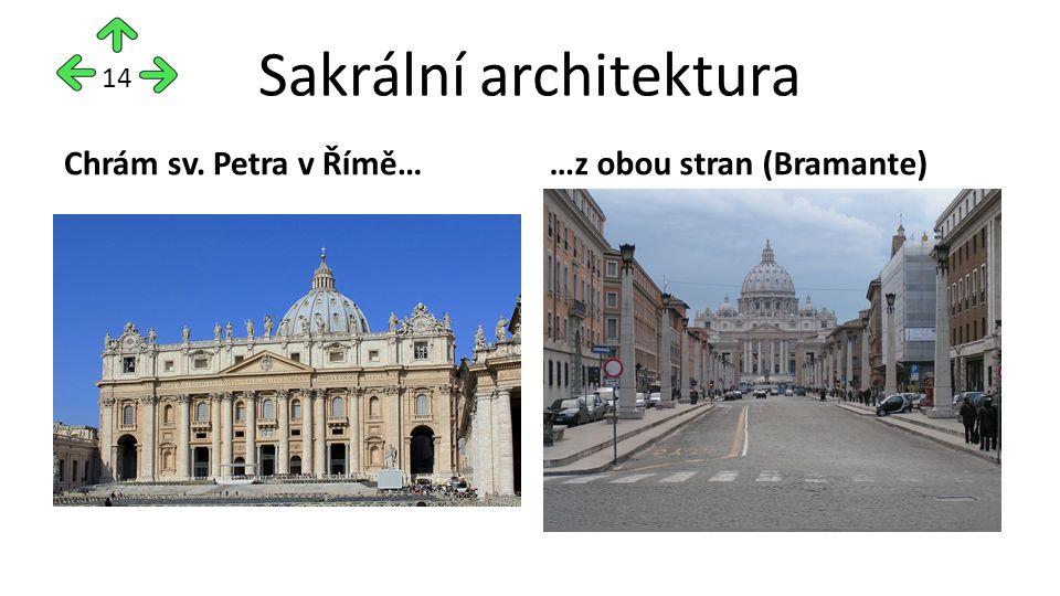 Sakrální architektura Chrám sv. Petra v Římě……z obou stran (Bramante) 14
