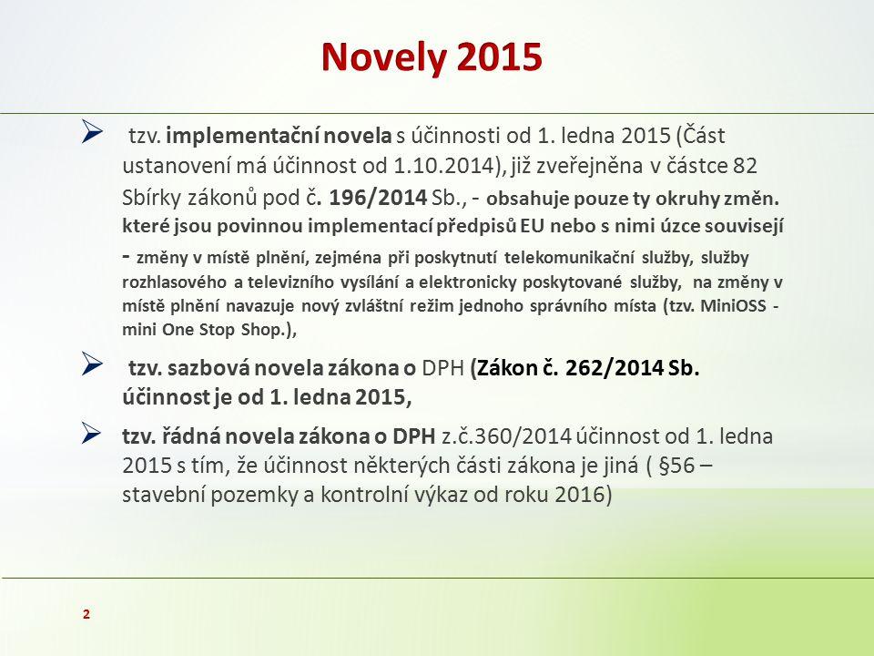  tzv. implementační novela s účinnosti od 1. ledna 2015 (Část ustanovení má účinnost od 1.10.2014), již zveřejněna v částce 82 Sbírky zákonů pod č. 1