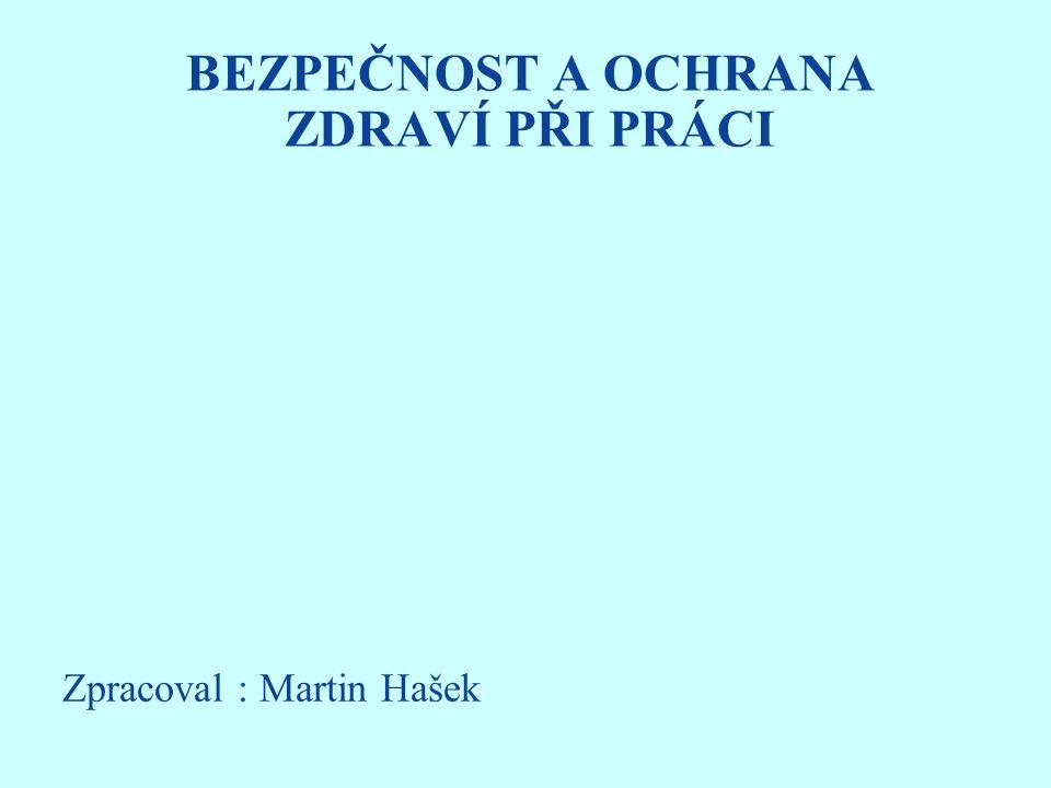 BEZPEČNOST A OCHRANA ZDRAVÍ PŘI PRÁCI Zpracoval : Martin Hašek