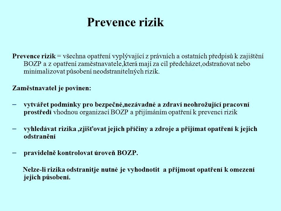 Prevence rizik Prevence rizik = všechna opatření vyplývající z právních a ostatních předpisů k zajištění BOZP a z opatření zaměstnavatele,která mají za cíl předcházet,odstraňovat nebo minimalizovat působení neodstranitelných rizik.