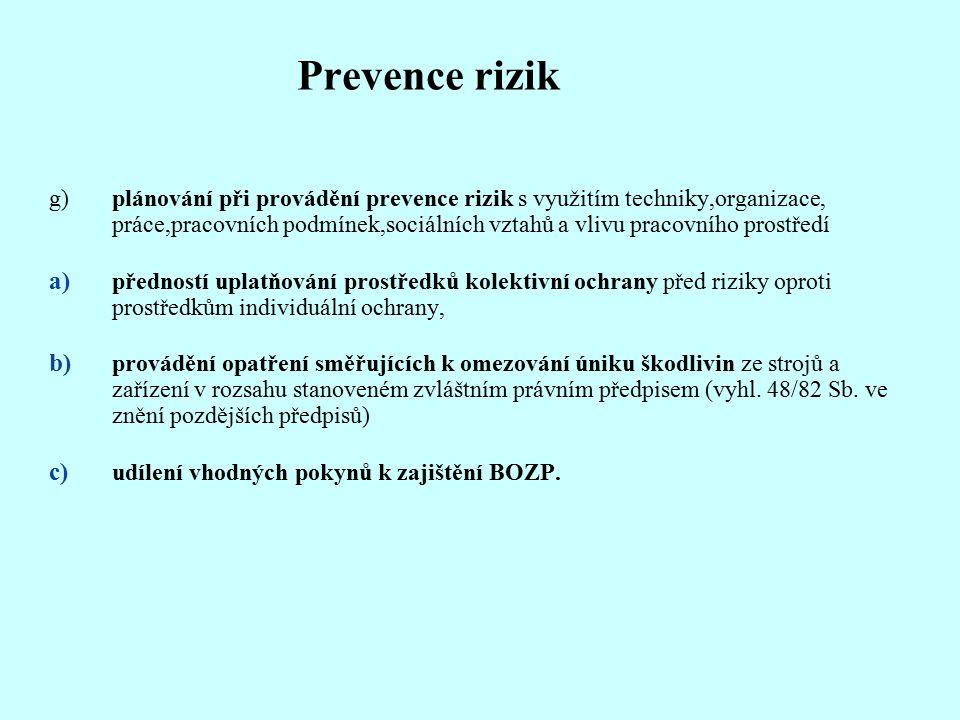 Prevence rizik g)plánování při provádění prevence rizik s využitím techniky,organizace, práce,pracovních podmínek,sociálních vztahů a vlivu pracovního prostředí a) předností uplatňování prostředků kolektivní ochrany před riziky oproti prostředkům individuální ochrany, b) provádění opatření směřujících k omezování úniku škodlivin ze strojů a zařízení v rozsahu stanoveném zvláštním právním předpisem (vyhl.