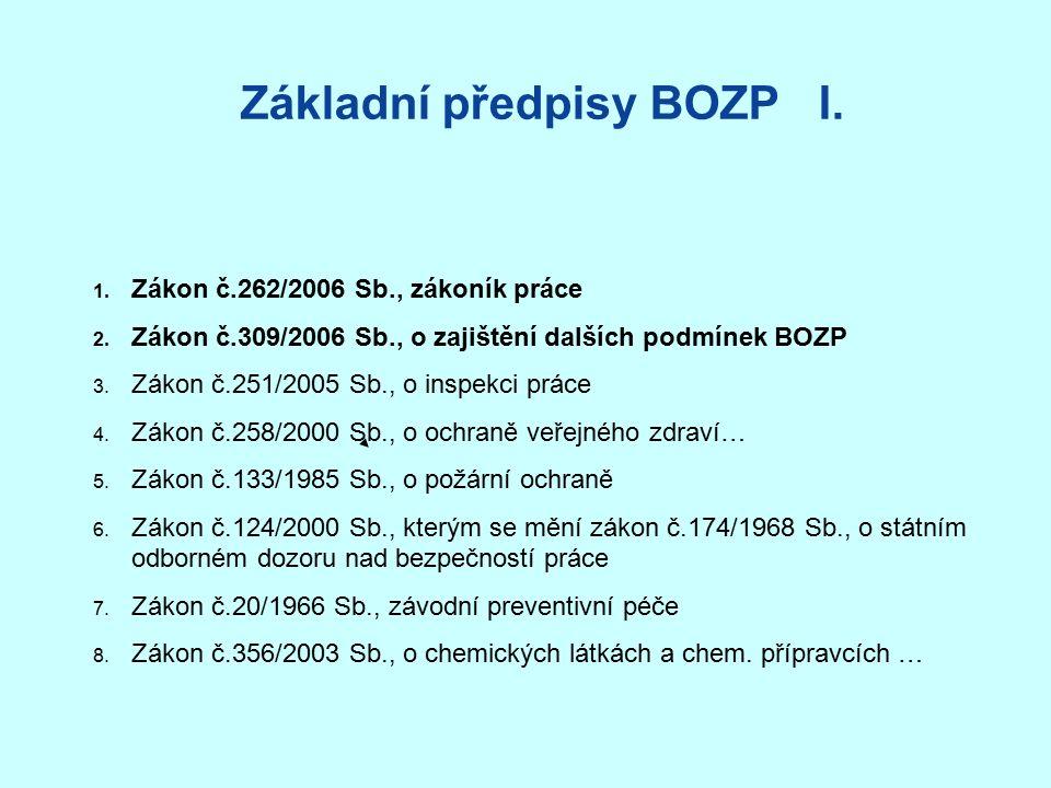 Základní předpisy BOZP I. 1. Zákon č.262/2006 Sb., zákoník práce 2.