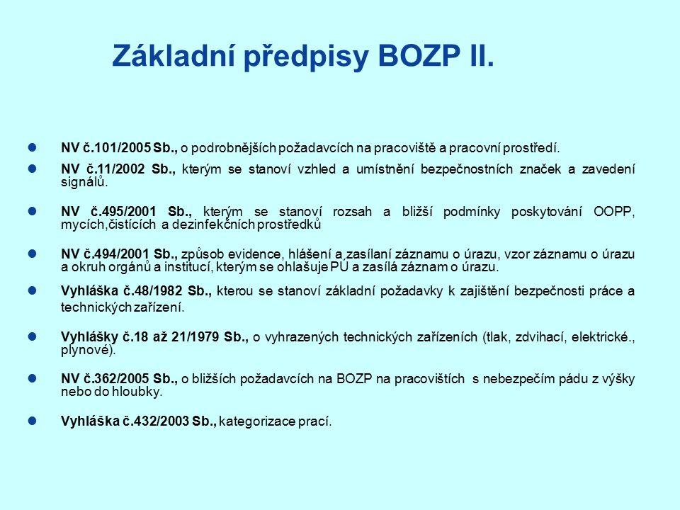 Základní předpisy BOZP II.