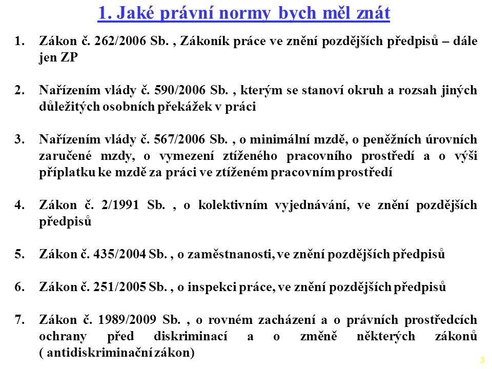 3 1. Jaké právní normy bych měl znát 1.Zákon č. 262/2006 Sb., Zákoník práce ve znění pozdějších předpisů – dále jen ZP 2.Nařízením vlády č. 590/2006 S