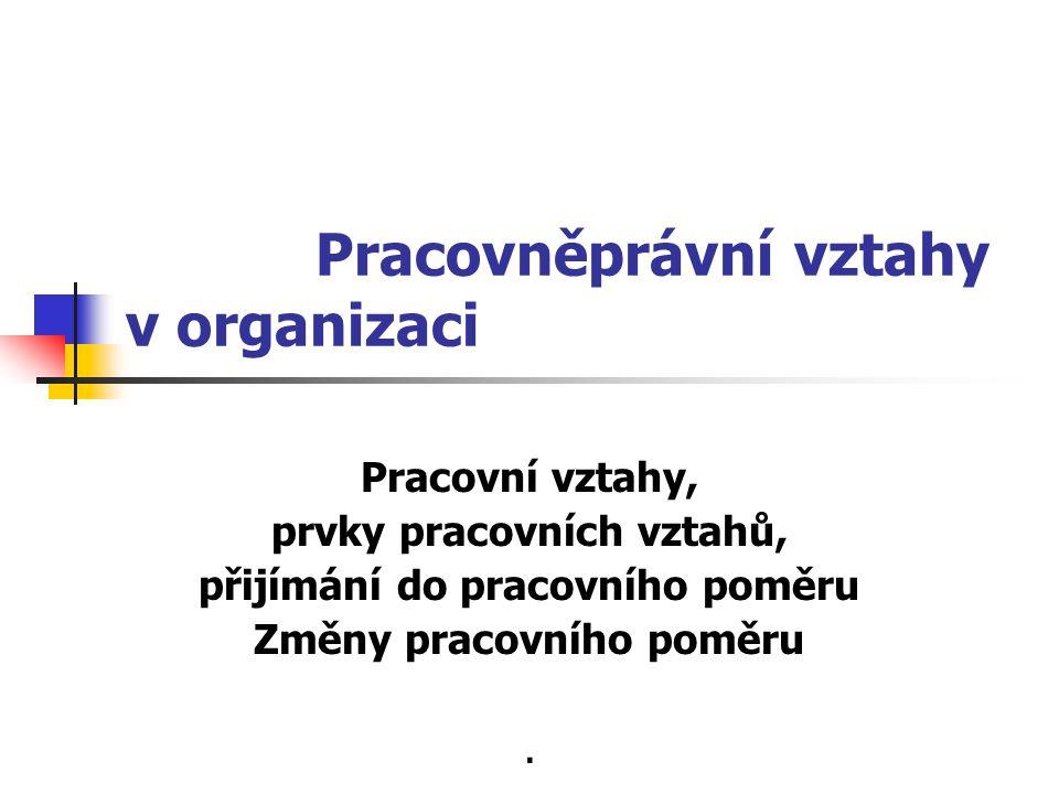 Pracovněprávní vztahy v organizaci Pracovní vztahy, prvky pracovních vztahů, přijímání do pracovního poměru Změny pracovního poměru.