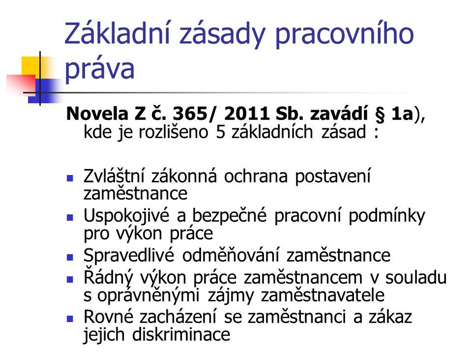 Základní zásady pracovního práva Novela Z č. 365/ 2011 Sb.