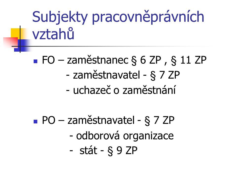 Subjekty pracovněprávních vztahů FO – zaměstnanec § 6 ZP, § 11 ZP - zaměstnavatel - § 7 ZP - uchazeč o zaměstnání PO – zaměstnavatel - § 7 ZP - odborová organizace - stát - § 9 ZP