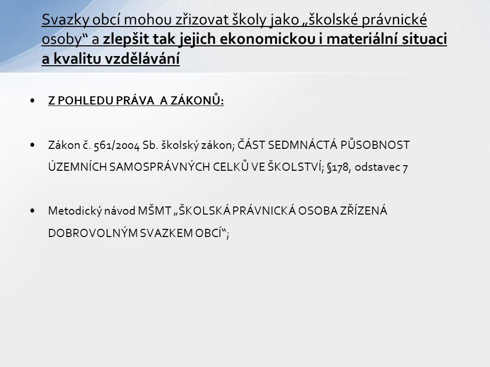 Z POHLEDU PRÁVA A ZÁKONŮ: Zákon č. 561/2004 Sb.