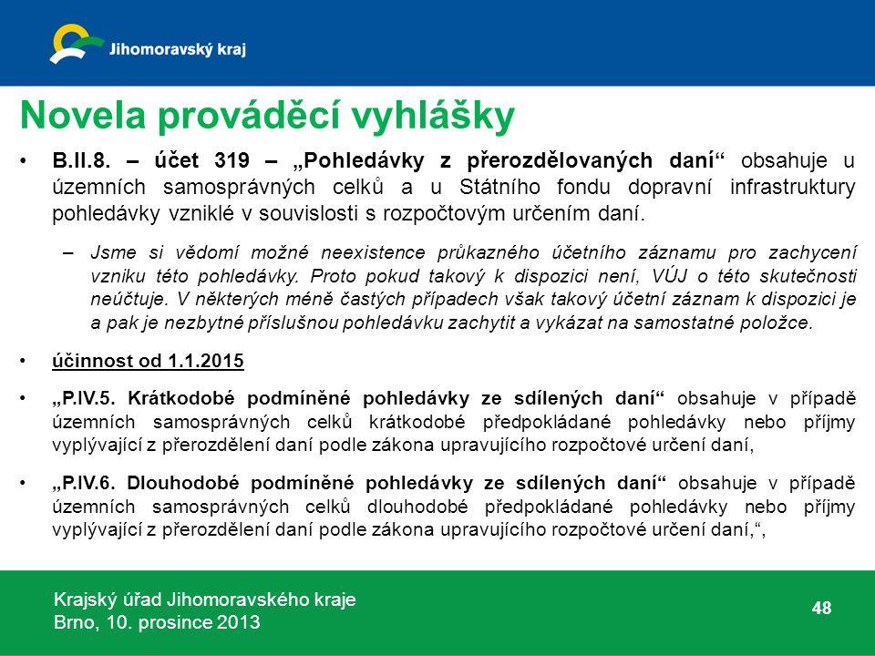 Krajský úřad Jihomoravského kraje Brno, 10. prosince 2013 Novela prováděcí vyhlášky B.II.8.