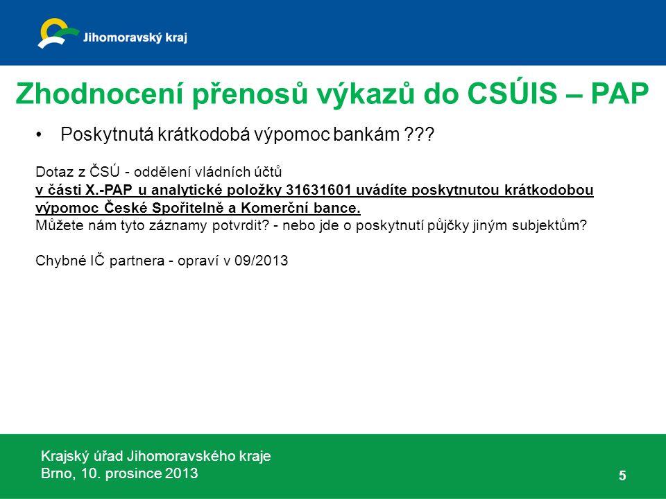 Krajský úřad Jihomoravského kraje Brno, 10. prosince 2013 Poskytnutá krátkodobá výpomoc bankám .