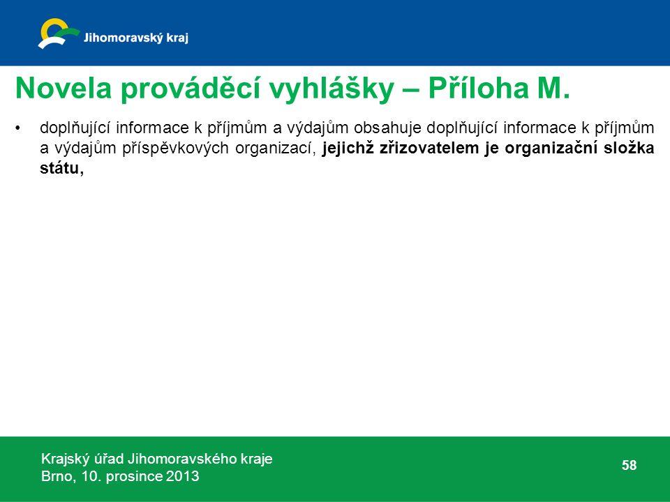 Krajský úřad Jihomoravského kraje Brno, 10. prosince 2013 Novela prováděcí vyhlášky – Příloha M.