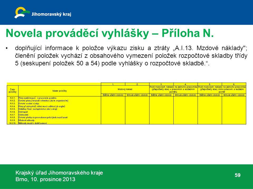 Krajský úřad Jihomoravského kraje Brno, 10. prosince 2013 Novela prováděcí vyhlášky – Příloha N.