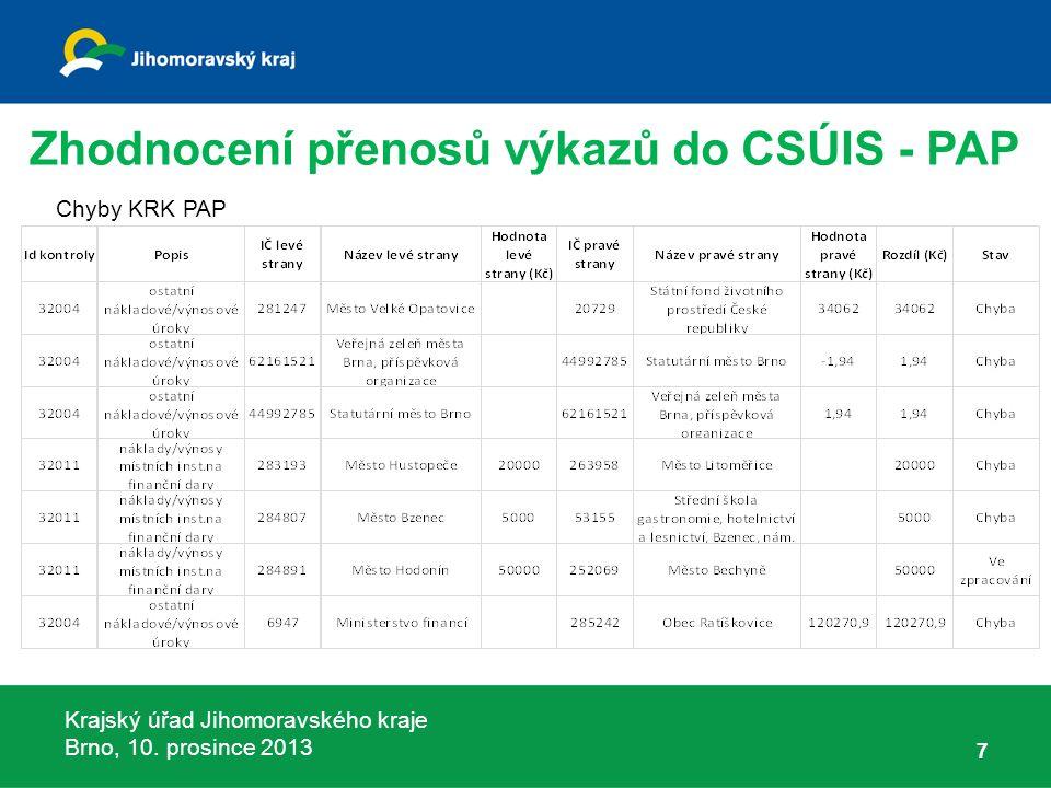 Krajský úřad Jihomoravského kraje Brno, 10.prosince 2013 78 Zprávy MF ČR č.