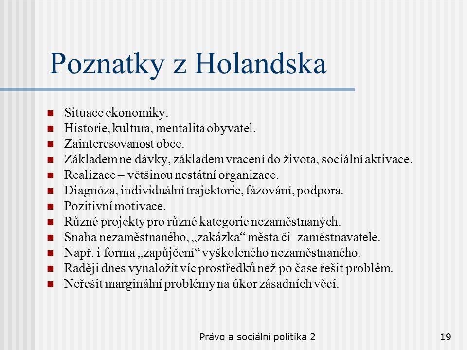 Právo a sociální politika 219 Poznatky z Holandska Situace ekonomiky.