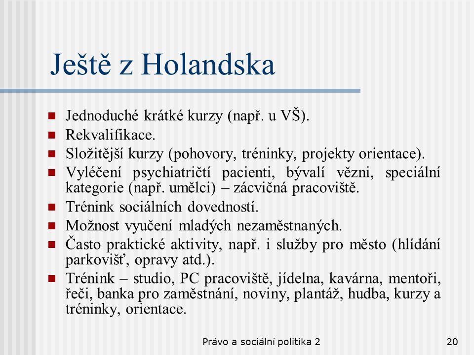 Právo a sociální politika 220 Ještě z Holandska Jednoduché krátké kurzy (např.