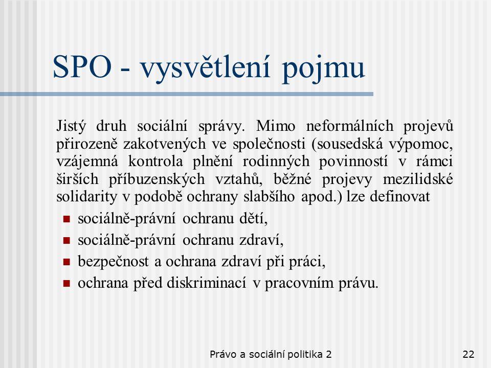 Právo a sociální politika 222 SPO - vysvětlení pojmu Jistý druh sociální správy.