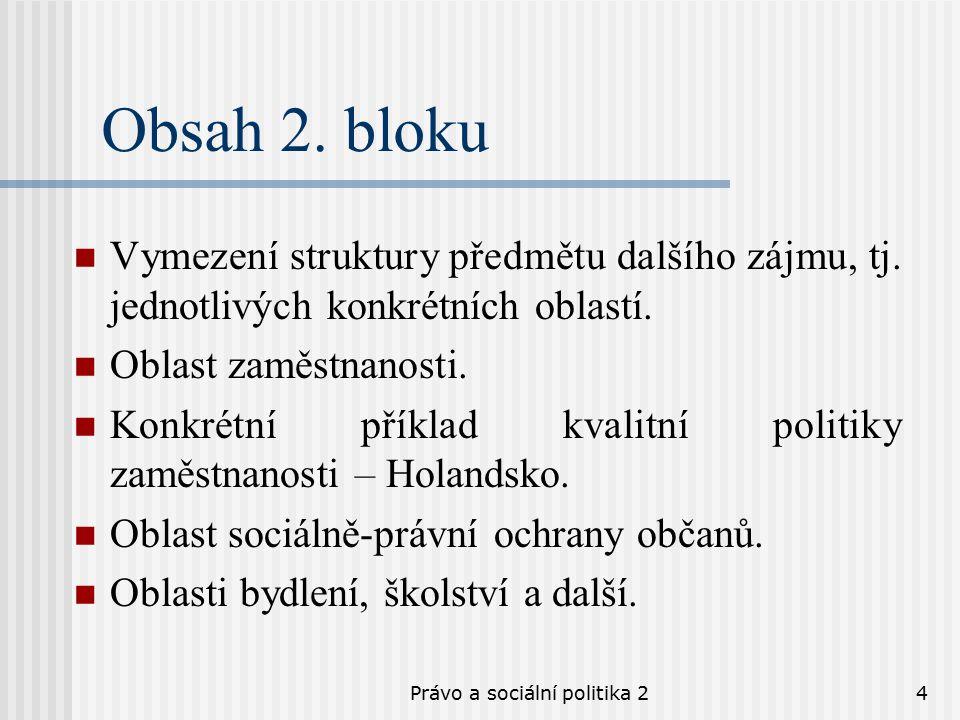 Právo a sociální politika 24 Obsah 2. bloku Vymezení struktury předmětu dalšího zájmu, tj.