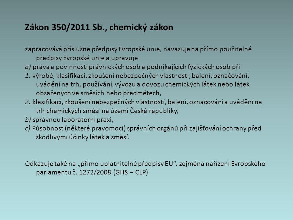 Zákon 350/2011 Sb., chemický zákon zapracovává příslušné předpisy Evropské unie, navazuje na přímo použitelné předpisy Evropské unie a upravuje a) práva a povinnosti právnických osob a podnikajících fyzických osob při 1.