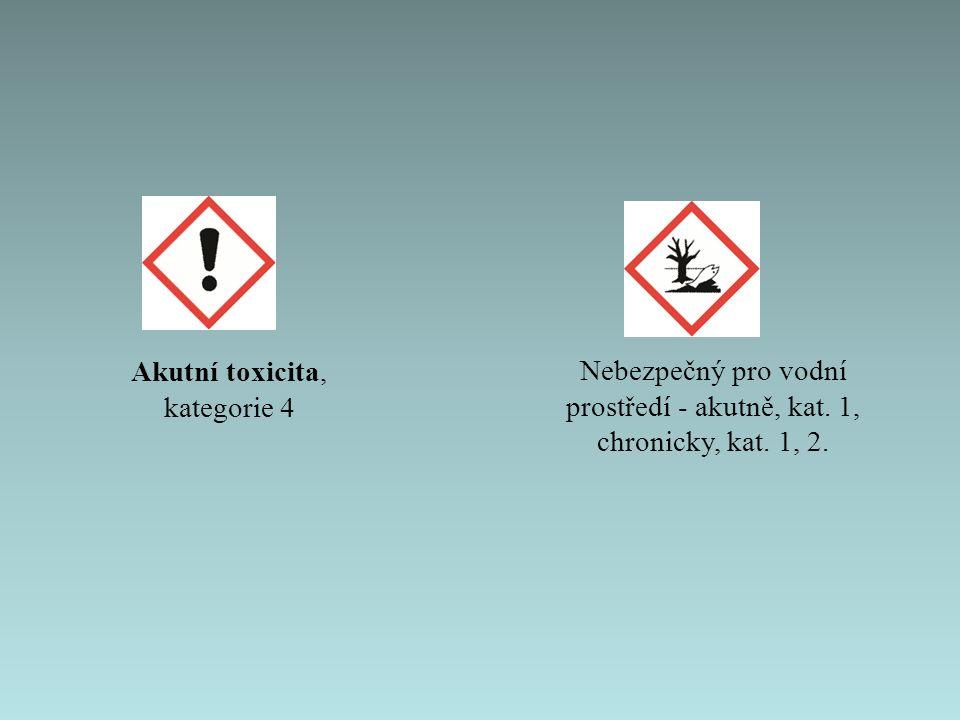 Akutní toxicita, kategorie 4 Nebezpečný pro vodní prostředí - akutně, kat. 1, chronicky, kat. 1, 2.
