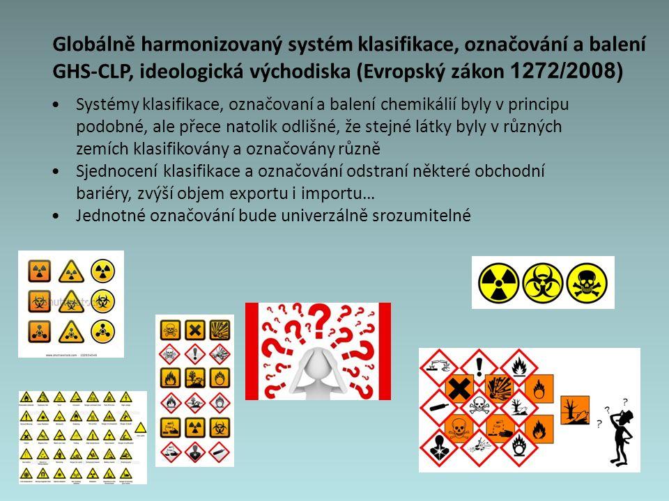 Globálně harmonizovaný systém klasifikace, označování a balení GHS-CLP, ideologická východiska (Evropský zákon 1272/2008) Systémy klasifikace, označovaní a balení chemikálií byly v principu podobné, ale přece natolik odlišné, že stejné látky byly v různých zemích klasifikovány a označovány různě Sjednocení klasifikace a označování odstraní některé obchodní bariéry, zvýší objem exportu i importu… Jednotné označování bude univerzálně srozumitelné
