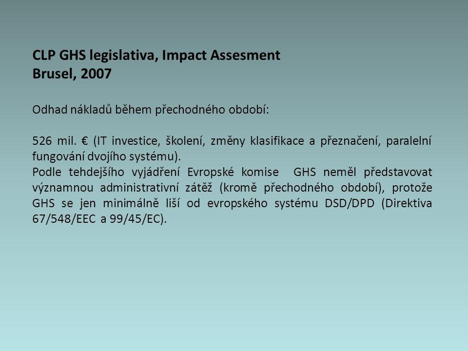 CLP GHS legislativa, Impact Assesment Brusel, 2007 Odhad nákladů během přechodného období: 526 mil.
