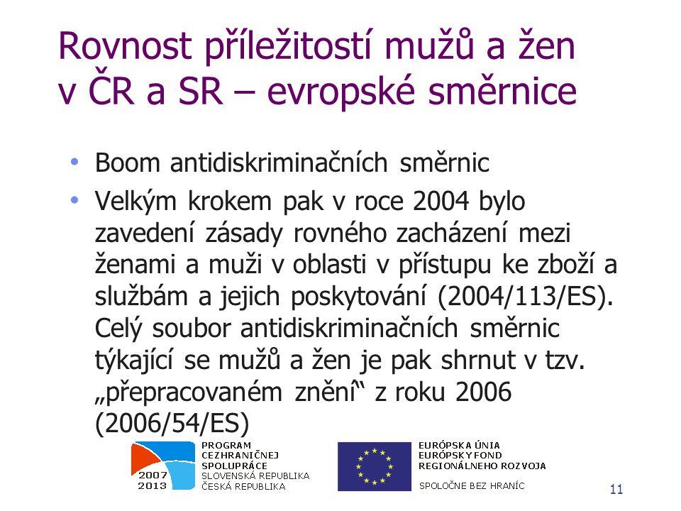 Rovnost příležitostí mužů a žen v ČR a SR – evropské směrnice Boom antidiskriminačních směrnic Velkým krokem pak v roce 2004 bylo zavedení zásady rovného zacházení mezi ženami a muži v oblasti v přístupu ke zboží a službám a jejich poskytování (2004/113/ES).
