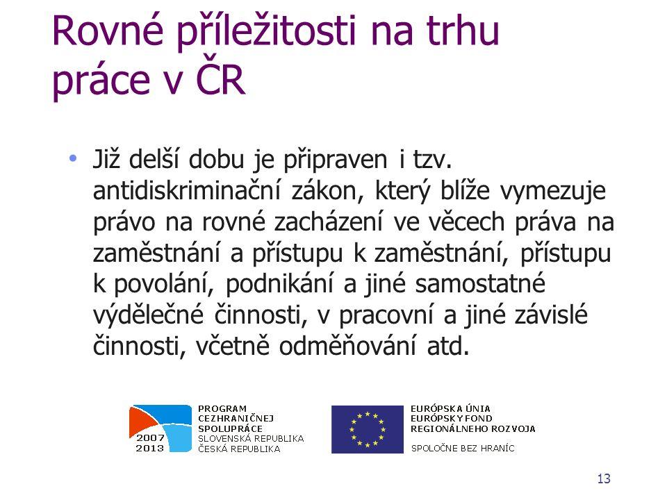 Rovné příležitosti na trhu práce v ČR Již delší dobu je připraven i tzv. antidiskriminační zákon, který blíže vymezuje právo na rovné zacházení ve věc