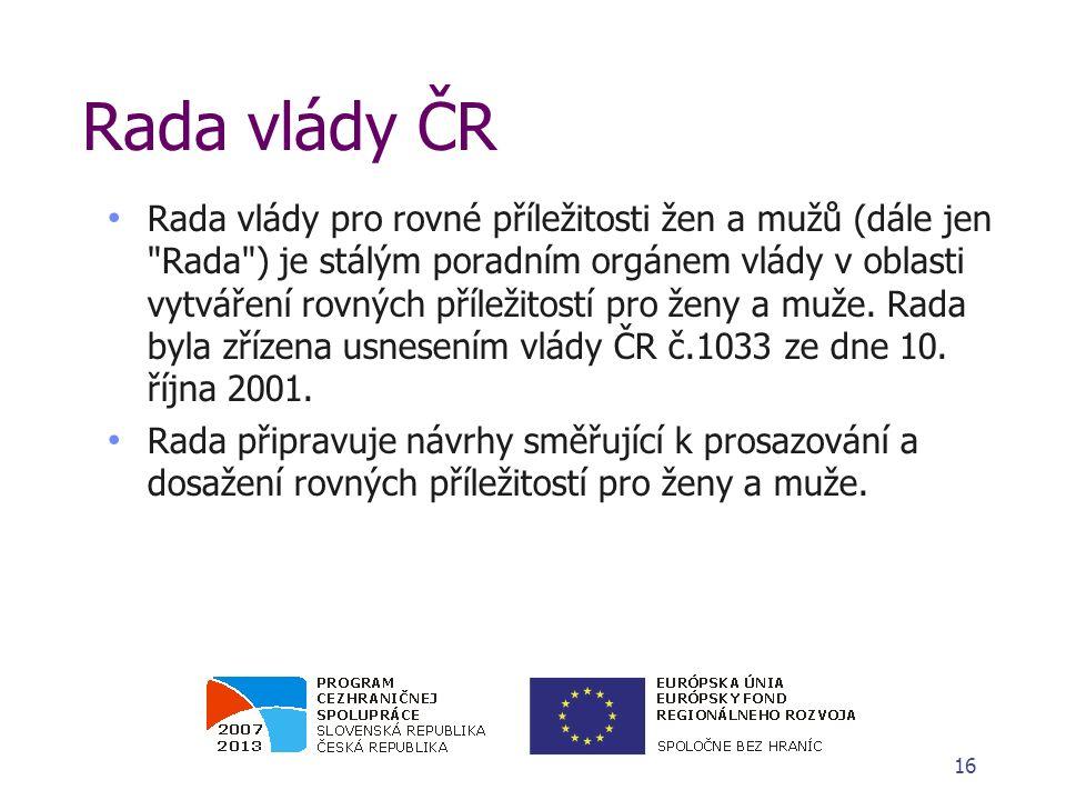 Rada vlády ČR Rada vlády pro rovné příležitosti žen a mužů (dále jen Rada ) je stálým poradním orgánem vlády v oblasti vytváření rovných příležitostí pro ženy a muže.