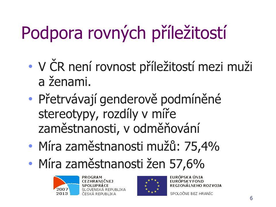 Podpora rovných příležitostí - problémy Vliv rodičovství na zaměstnatelnost žen je v ČR nejvyšší mezi zeměmi EU Rozdíl v odměňování oproti mužům u žen ve věkovém rozmezí 30 - 39 let (období, kdy přerušují kariéru kvůli založení rodiny) je ještě o mnoho vyšší než průměrný rozdíl 7