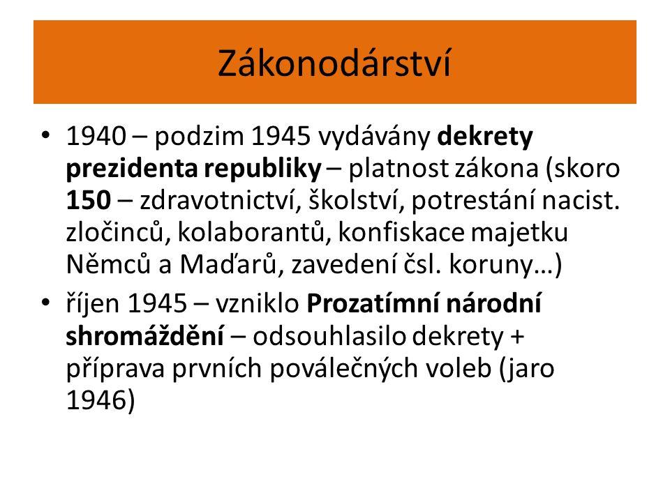 Zákonodárství 1940 – podzim 1945 vydávány dekrety prezidenta republiky – platnost zákona (skoro 150 – zdravotnictví, školství, potrestání nacist.