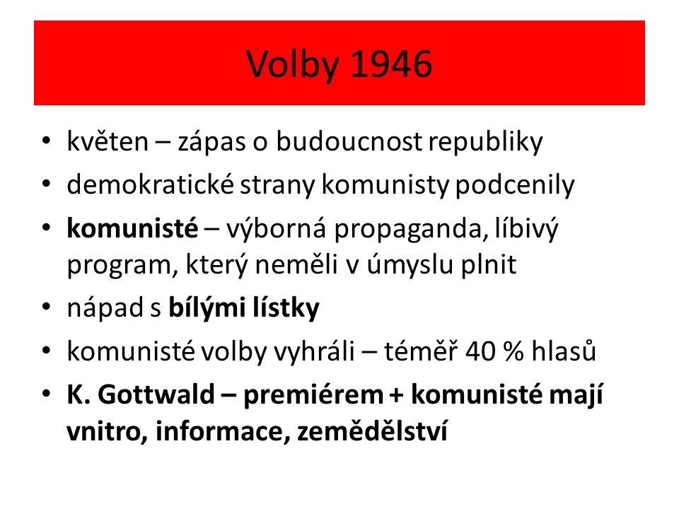 Volby 1946 květen – zápas o budoucnost republiky demokratické strany komunisty podcenily komunisté – výborná propaganda, líbivý program, který neměli v úmyslu plnit nápad s bílými lístky komunisté volby vyhráli – téměř 40 % hlasů K.