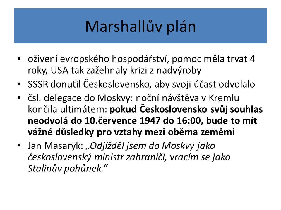Marshallův plán oživení evropského hospodářství, pomoc měla trvat 4 roky, USA tak zažehnaly krizi z nadvýroby SSSR donutil Československo, aby svoji účast odvolalo čsl.