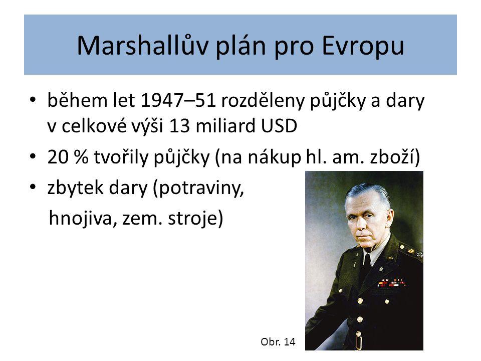 Marshallův plán pro Evropu během let 1947–51 rozděleny půjčky a dary v celkové výši 13 miliard USD 20 % tvořily půjčky (na nákup hl.