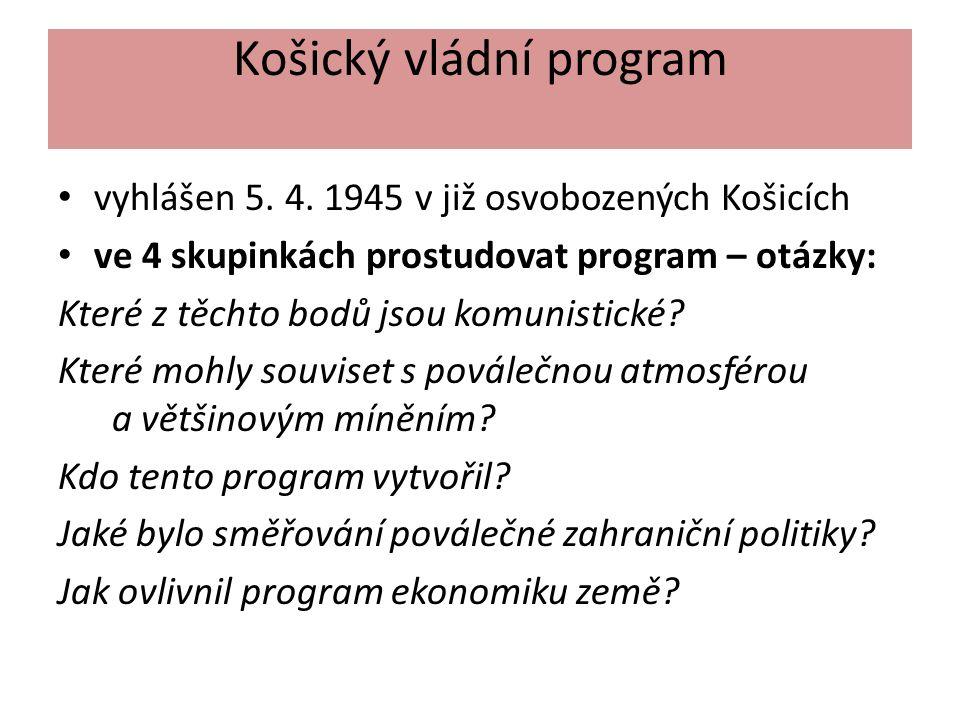 Košický vládní program vyhlášen 5. 4.