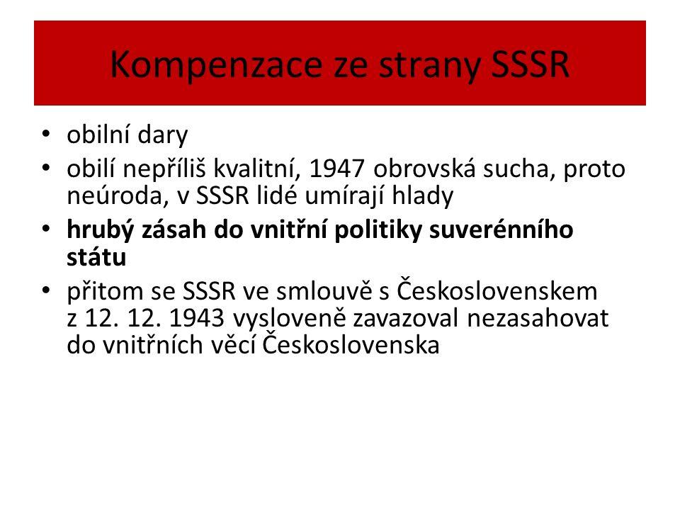 Kompenzace ze strany SSSR obilní dary obilí nepříliš kvalitní, 1947 obrovská sucha, proto neúroda, v SSSR lidé umírají hlady hrubý zásah do vnitřní politiky suverénního státu přitom se SSSR ve smlouvě s Československem z 12.