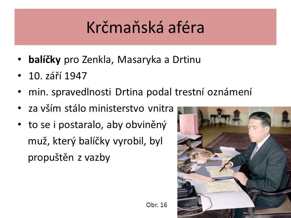 Krčmaňská aféra balíčky pro Zenkla, Masaryka a Drtinu 10.