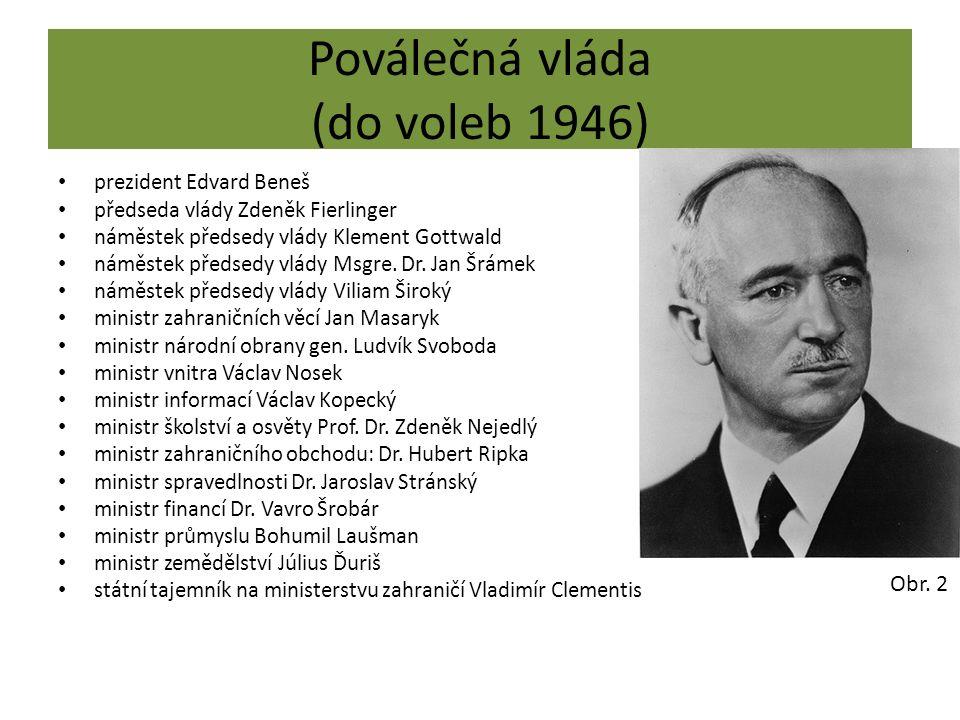 Poválečná vláda (do voleb 1946) prezident Edvard Beneš předseda vlády Zdeněk Fierlinger náměstek předsedy vlády Klement Gottwald náměstek předsedy vlády Msgre.