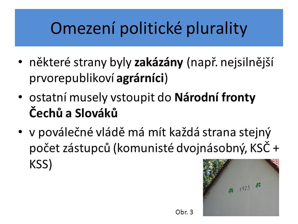 Omezení politické plurality některé strany byly zakázány (např.